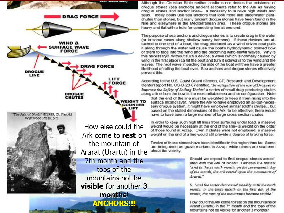 How else could the Ark come to rest on the mountain of Ararat (Urartu) in the 7th month and the tops of the mountains not be visible for another 3 mon