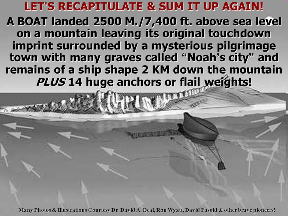 LET ' S RECAPITULATE & SUM IT UP AGAIN! A BOAT landed 2500 M./7,400 ft. above sea level on a mountain leaving its original touchdown imprint surrounde