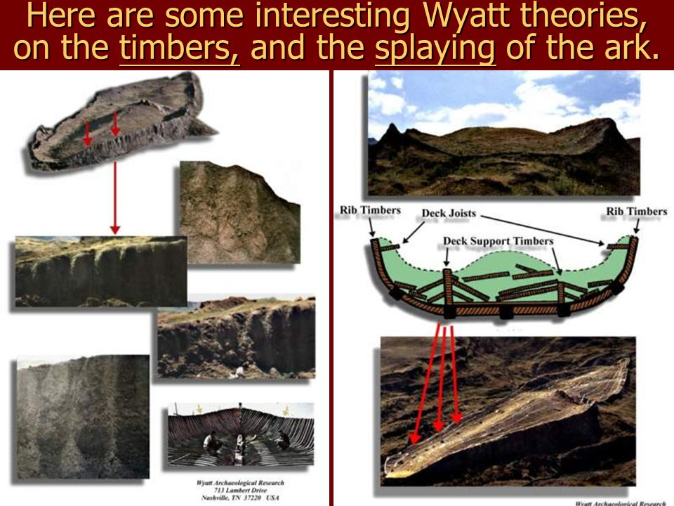 Here are some interesting Wyatt theories, on the timbers, and the splaying of the ark.