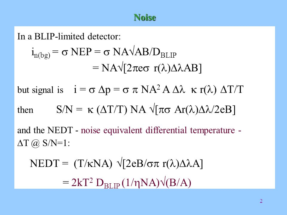 3 Theoretical NEDT  =0.5, NA=0.5 A=0.01 cm 2 D BLIP =6. 10 10 (W -1 cm√Hz)