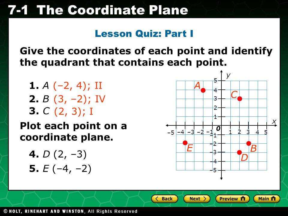 Holt CA Course 1 7-1The Coordinate Plane Lesson Quiz: Part I Give the coordinates of each point and identify the quadrant that contains each point. 1.