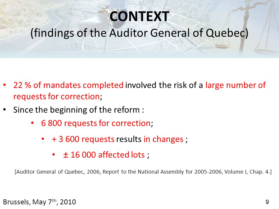 22 % of mandates completed involved the risk of a large number of requests for correction; Since the beginning of the reform : 6 800 requests for correction; + 3 600 requests results in changes ; ± 16 000 affected lots ; [Auditor General of Quebec, 2006, Report to the National Assembly for 2005-2006, Volume I, Chap.