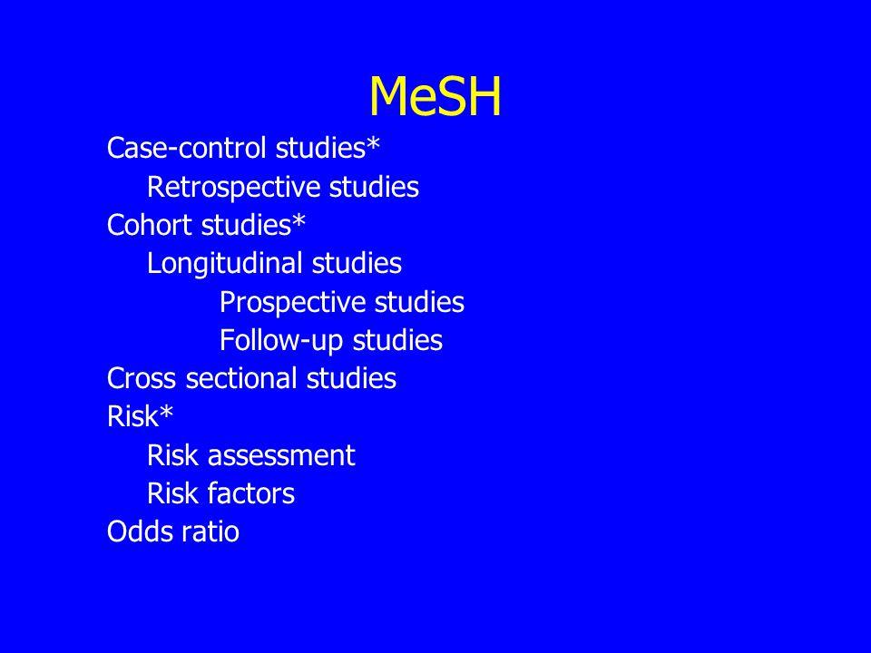 MeSH Case-control studies* Retrospective studies Cohort studies* Longitudinal studies Prospective studies Follow-up studies Cross sectional studies Risk* Risk assessment Risk factors Odds ratio