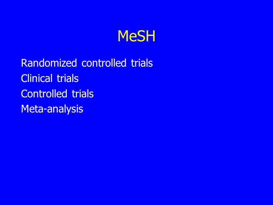 MeSH Randomized controlled trials Clinical trials Controlled trials Meta-analysis