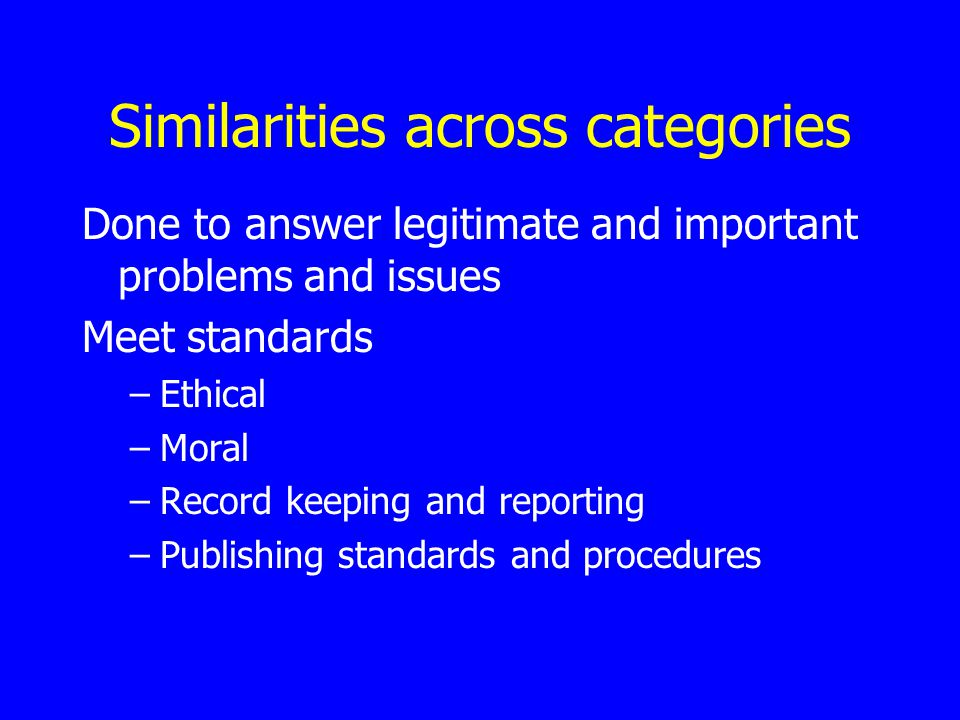 Similarities across categories Done to answer legitimate and important problems and issues Meet standards –Ethical –Moral –Record keeping and reporting –Publishing standards and procedures