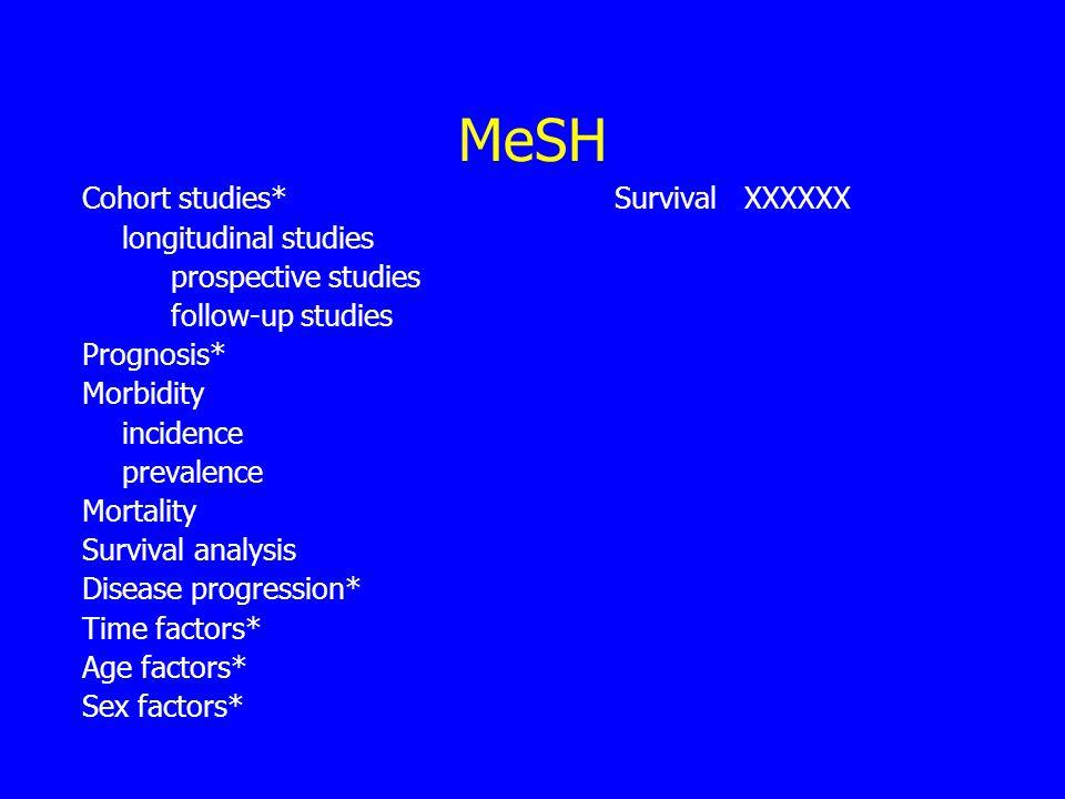 MeSH Cohort studies*Survival XXXXXX longitudinal studies prospective studies follow-up studies Prognosis* Morbidity incidence prevalence Mortality Survival analysis Disease progression* Time factors* Age factors* Sex factors*