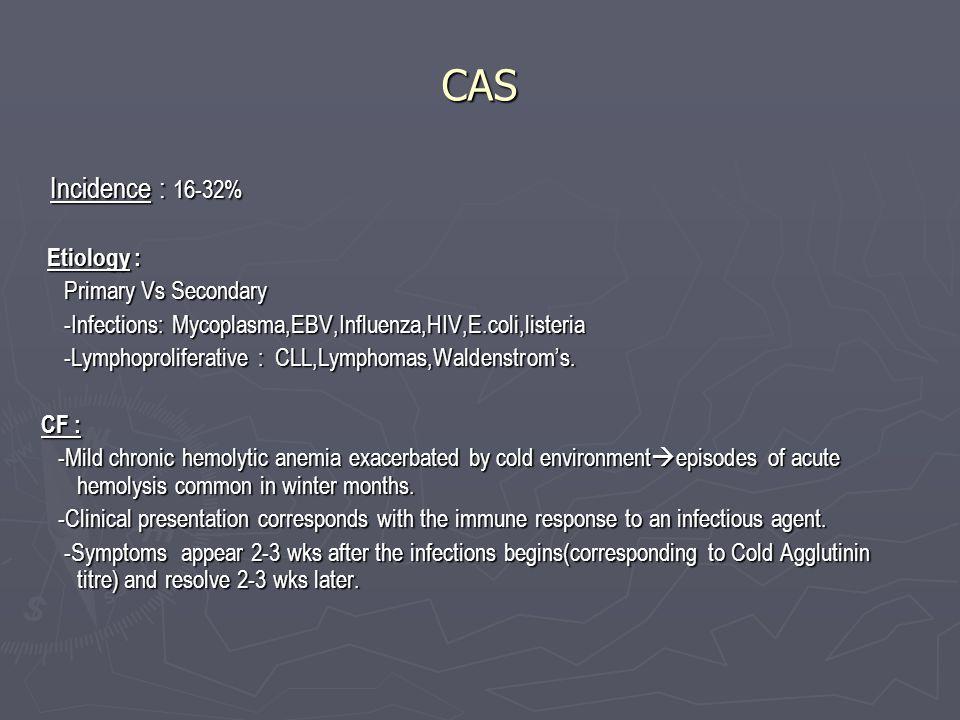 CAS Incidence : 16-32% Incidence : 16-32% Etiology : Etiology : Primary Vs Secondary Primary Vs Secondary -Infections: Mycoplasma,EBV,Influenza,HIV,E.