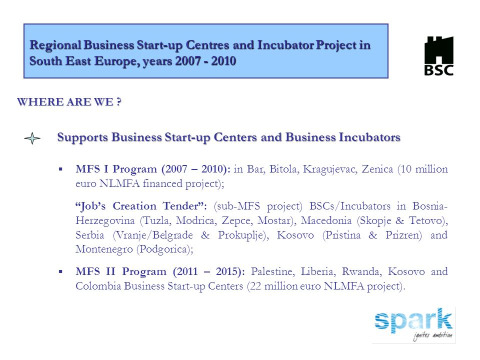 Supports Business Start-up Centers and Business Incubators ▪ MFS I Program (2007 – 2010): in Bar, Bitola, Kragujevac, Zenica (10 million euro NLMFA fi