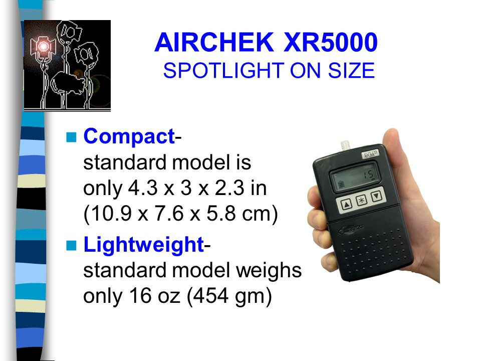 AIRCHEK XR5000 SPOTLIGHT ON SIZE Compact- standard model is only 4.3 x 3 x 2.3 in (10.9 x 7.6 x 5.8 cm) Lightweight- standard model weighs only 16 oz