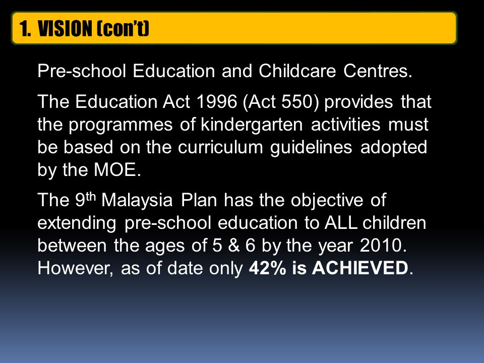 Pre-school Education and Childcare Centres.