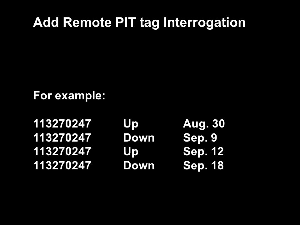 Identify Add Remote PIT tag Interrogation For example: 113270247UpAug. 30 113270247 DownSep. 9 113270247 UpSep. 12 113270247 DownSep. 18