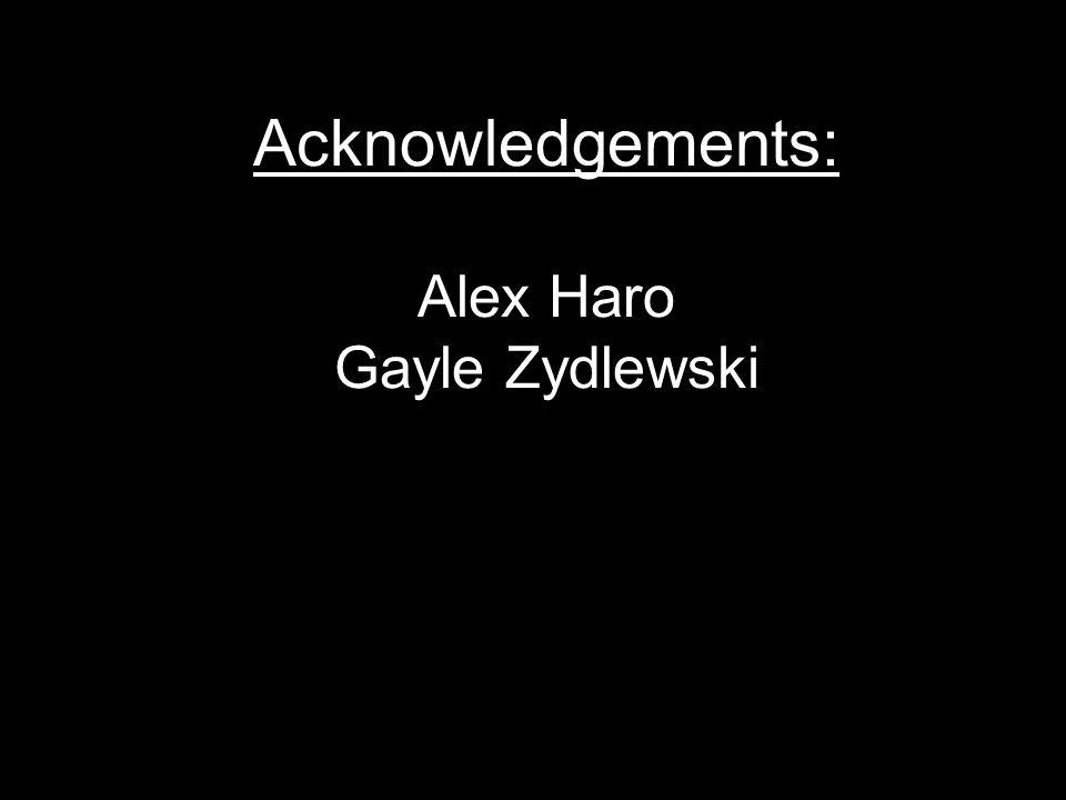 Acknowledgements: Alex Haro Gayle Zydlewski
