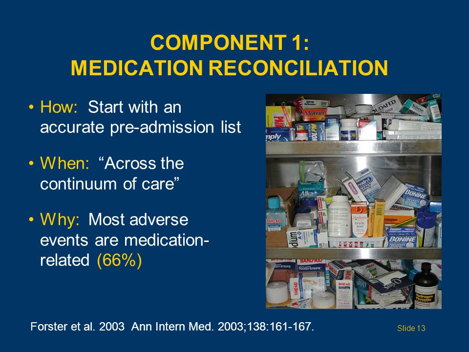 COMPONENT 1: MEDICATION RECONCILIATION How: Start with an accurate pre-admission list When: Across the continuum of care Why: Most adverse events are medication- related (66%) Forster et al.