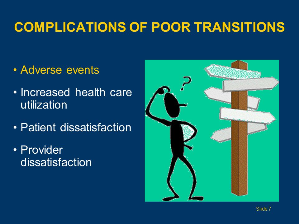 COMPLICATIONS OF POOR TRANSITIONS Adverse events Increased health care utilization Patient dissatisfaction Provider dissatisfaction Slide 7