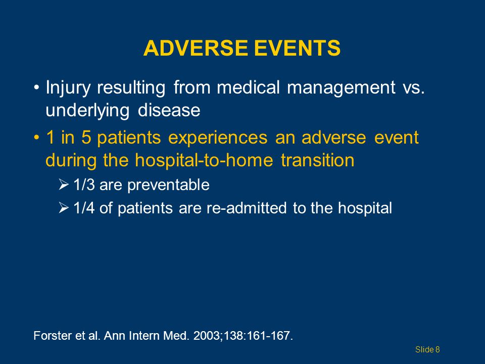 ADVERSE EVENTS Injury resulting from medical management vs.