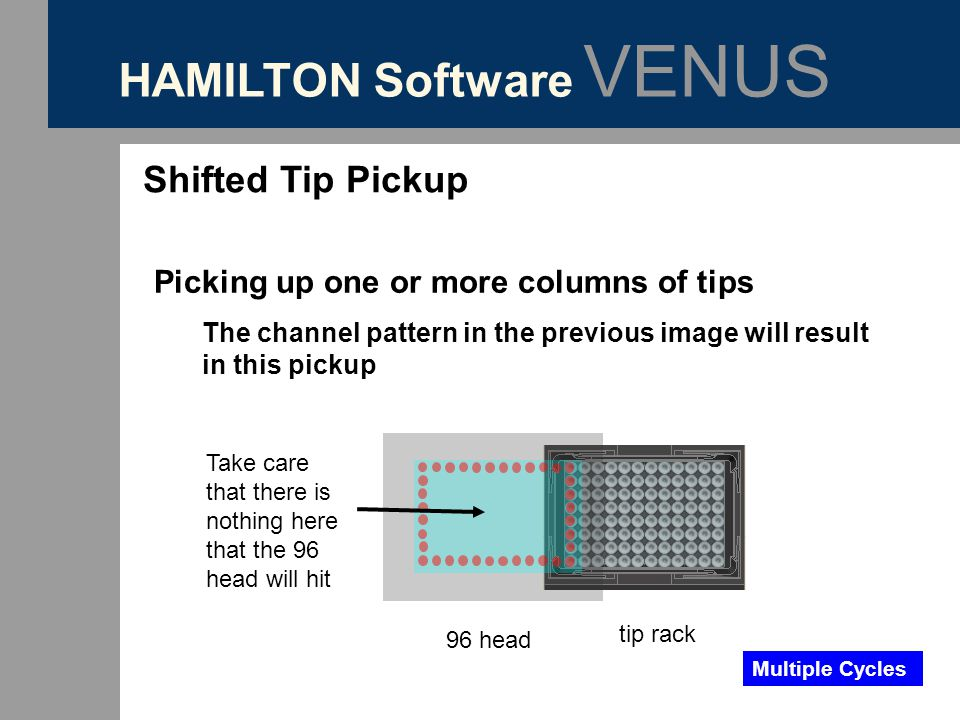 HAMILTON Software VENUS Shifted Tip Pickup Picking up one or more columns of tips The channel pattern in the previous image will result in this pickup