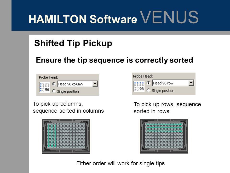HAMILTON Software VENUS Shifted Tip Pickup Ensure the tip sequence is correctly sorted To pick up columns, sequence sorted in columns To pick up rows,