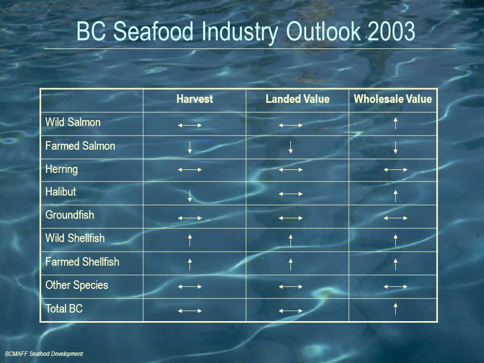 BCMAFF Seafood Development BC Seafood Industry Outlook 2003 HarvestLanded ValueWholesale Value Wild Salmon Farmed Salmon Herring Halibut Groundfish Wi