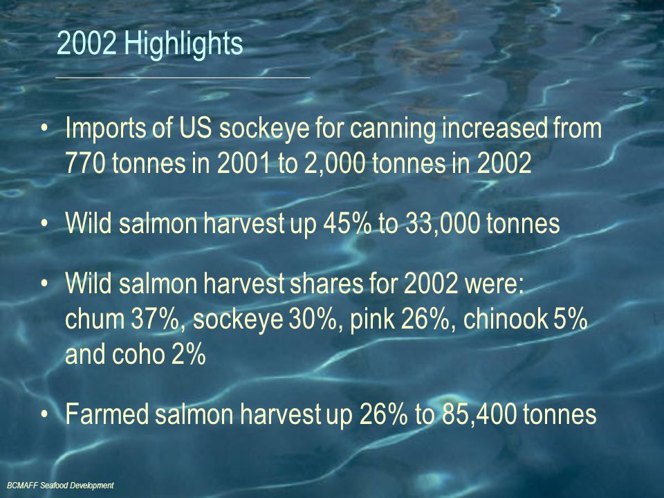 BCMAFF Seafood Development 2002 Highlights Imports of US sockeye for canning increased from 770 tonnes in 2001 to 2,000 tonnes in 2002 Wild salmon har