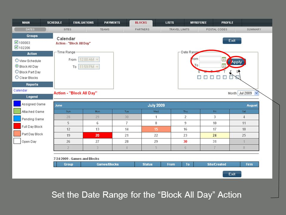 "Set the Date Range for the ""Block All Day"" Action"
