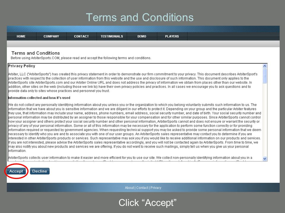Terms and Conditions Click Accept