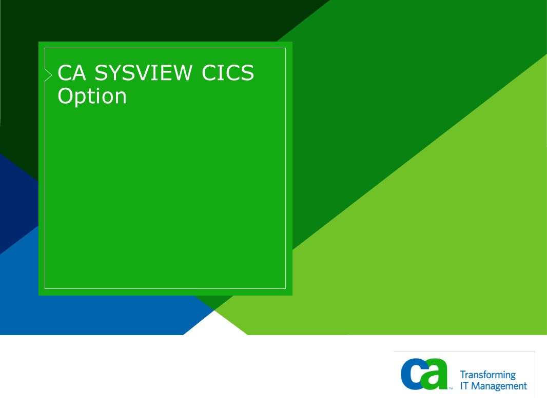 CICS Monitoring >Overall health summary of all CICS regions >Full support for all IBM supported releases >One product to install and maintain >Single point of control for all CICS regions >Does not use CICS resources >CICS Status, Storage, Resource, Historical information