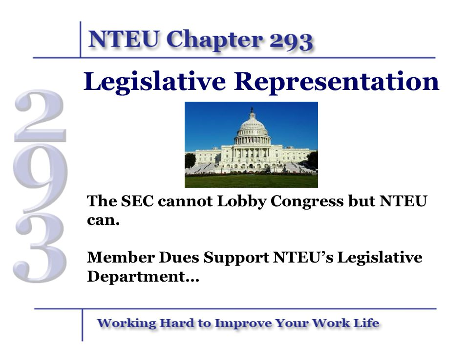 NTEU's Legislative Department Works with Both Republican and Democratic Members of Congress Every Year to Secure an SEC Budget that will Support… More Hiring; Better Raises; Better Benefits; More Resources to Advance Our Mission