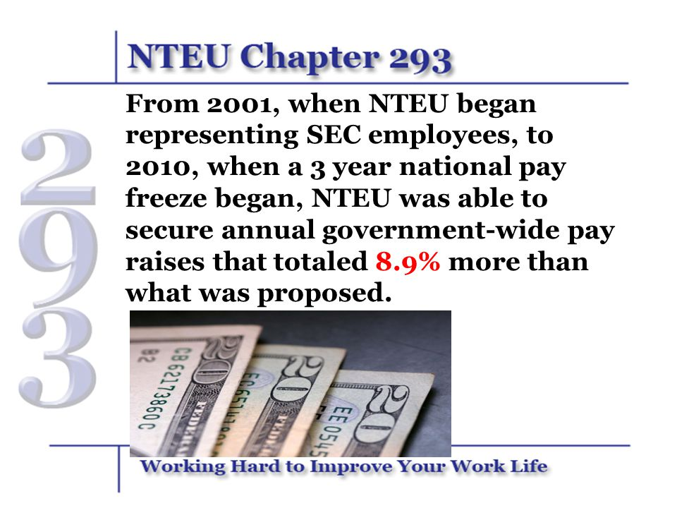 It Adds Up Over Time… If you made $50,000 in 2001, NTEU's hard work raised your earnings by $31,500 over the next nine years and increased your salary by about $5,600 PER YEAR.