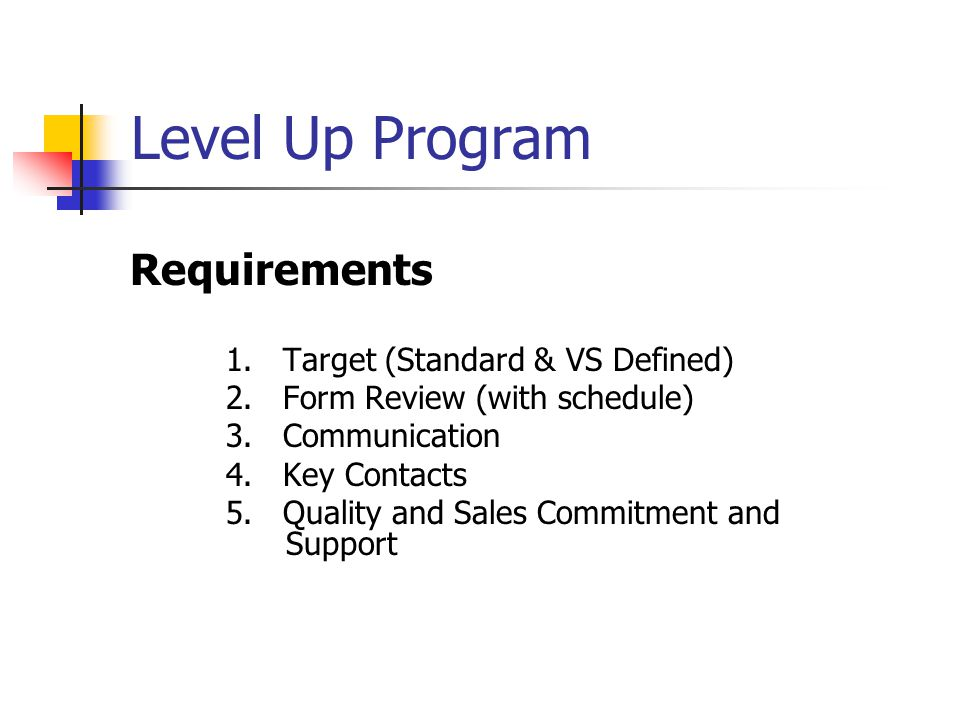 Level Up Program Requirements 1. Target (Standard & VS Defined) 2.