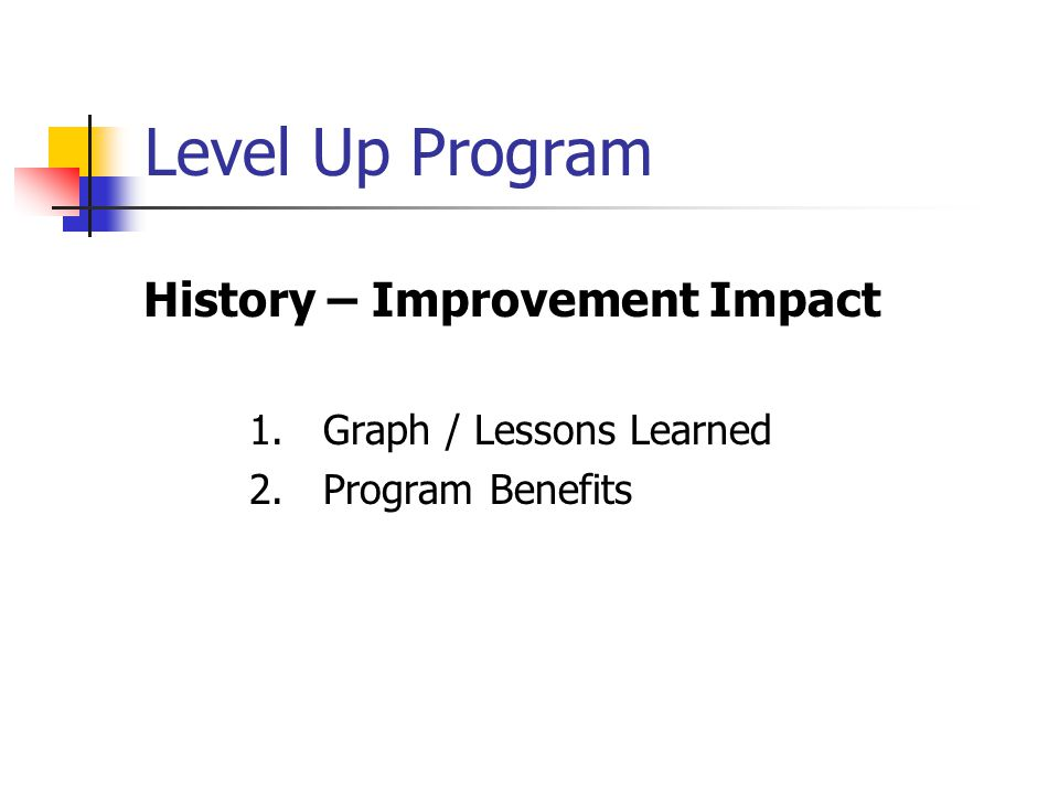 Level Up Program History – Improvement Impact 1. Graph / Lessons Learned 2. Program Benefits
