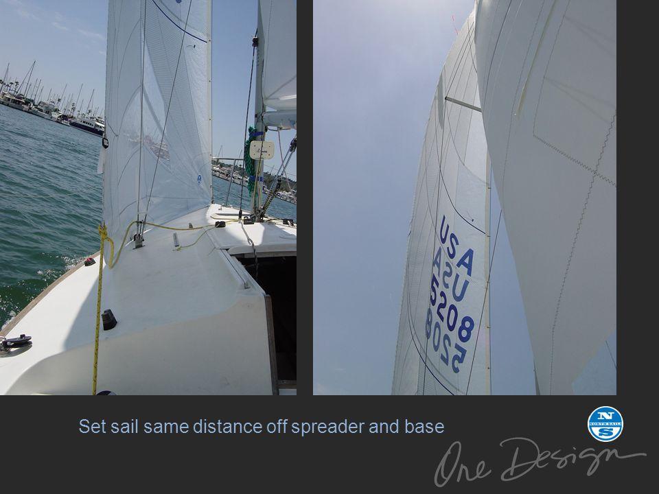 Set sail same distance off spreader and base