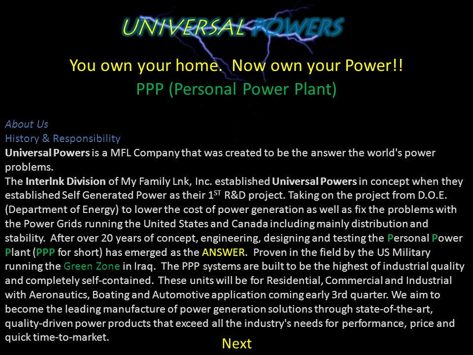You own your home. Now own your Power!! PPP (Personal Power Plant)