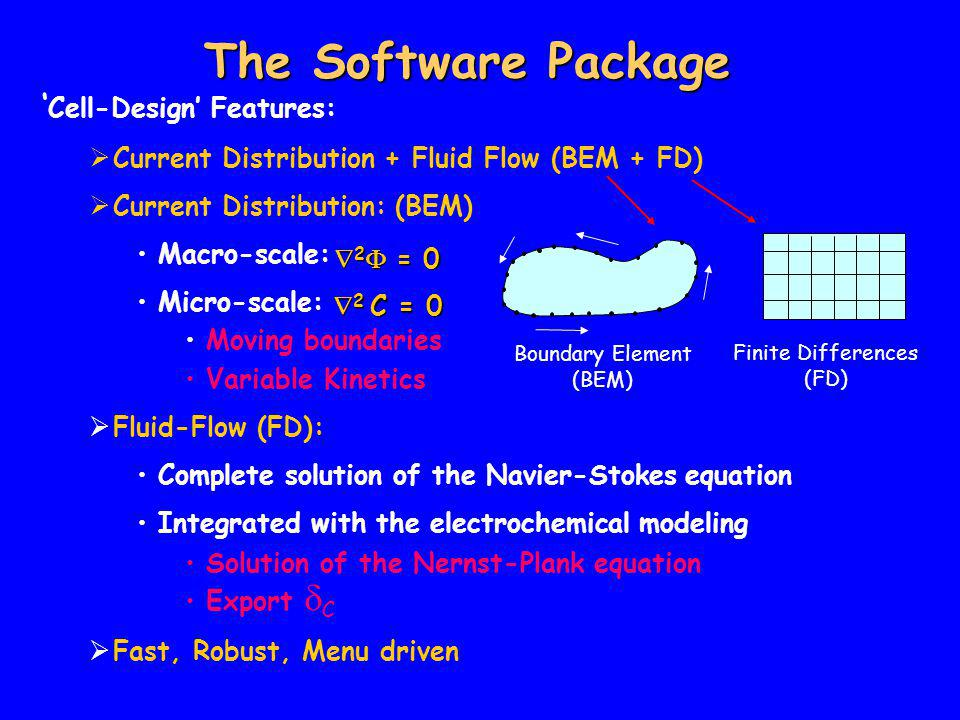 The Software Package ' Cell-Design' Features:  Current Distribution + Fluid Flow (BEM + FD)  Current Distribution: (BEM) Macro-scale: Micro-scale: Moving boundaries Variable Kinetics  Fluid-Flow (FD): Complete solution of the Navier-Stokes equation Integrated with the electrochemical modeling Solution of the Nernst-Plank equation Export  C  Fast, Robust, Menu driven  2 C = 0  2  = 0 Boundary Element (BEM) Finite Differences (FD)