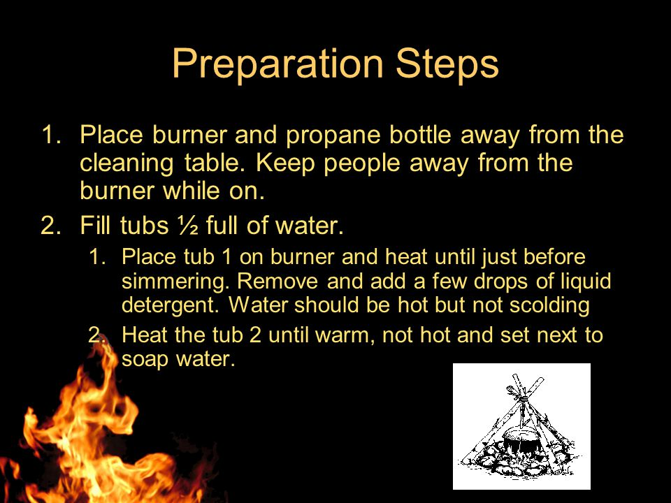 Preparations Thirty minutes before the class starts, begin setting up cleaning station. Setup the tubs in a line on the table. –Tub 1 - hot water with