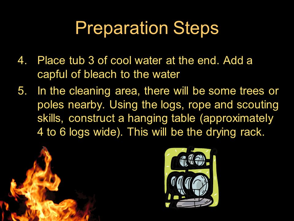 Preparation Steps 1.Place burner and propane bottle away from the cleaning table.