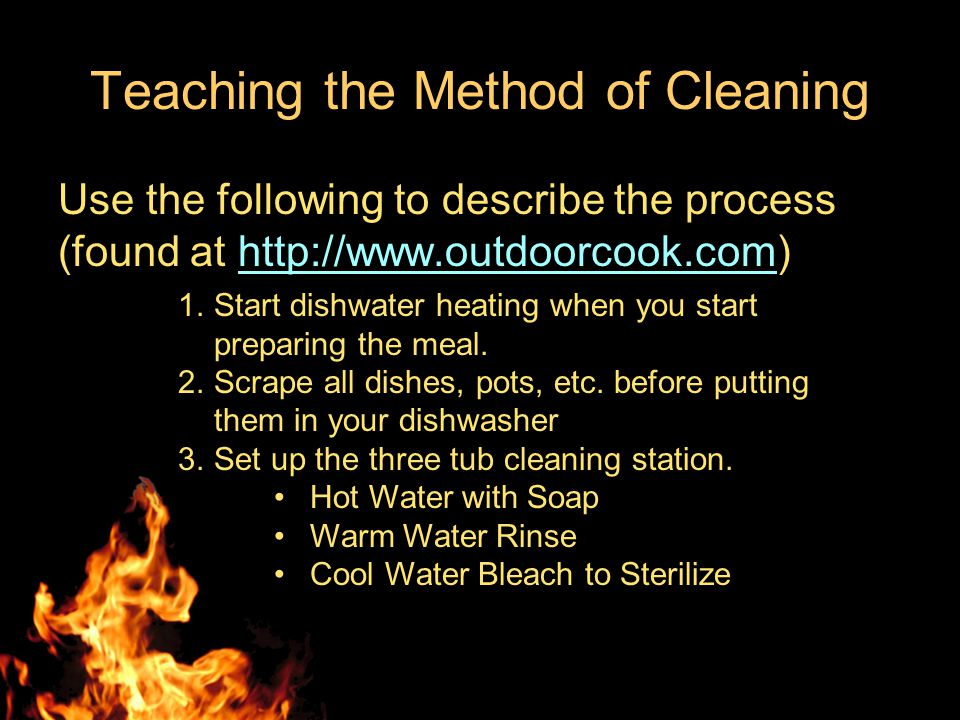 Teaching the Method of Cleaning As the students arrive in the cleaning area (they come in rotations), have them gather in front of the cleaning table.