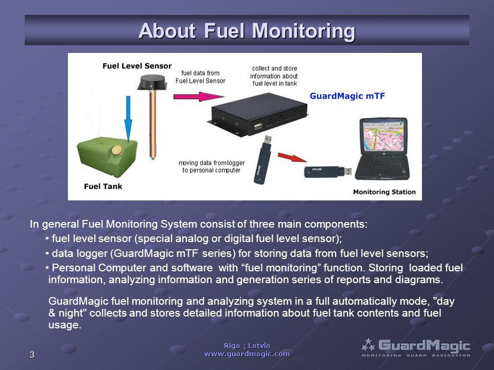 3 Riga ; Latvia www.guardmagic.com About Fuel Monitoring In general Fuel Monitoring System consist of three main components: fuel level sensor (special analog or digital fuel level sensor); data logger (GuardMagic mTF series) for storing data from fuel level sensors; Personal Computer and software with fuel monitoring function.