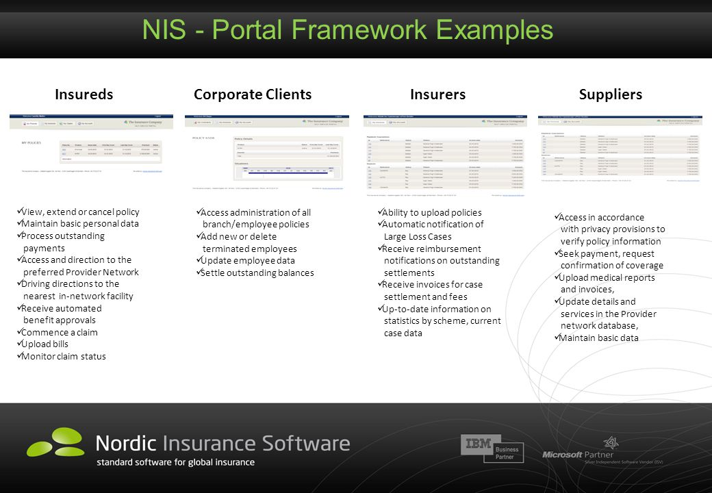 NIS - Portal Framework Examples Access administration of all branch/employee policies Add new or delete terminated employees Update employee data Sett