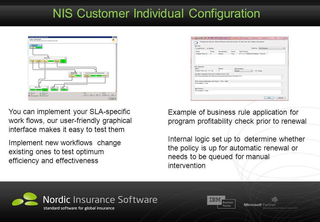 NIS Customer Individual Configuration Example of business rule application for program profitability check prior to renewal Internal logic set up to d