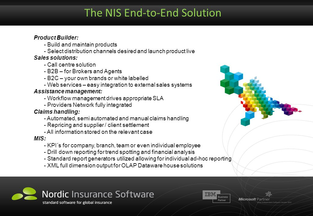 The NIS End-to-End Solution Product Builder: - Build and maintain products - Select distribution channels desired and launch product live Sales soluti