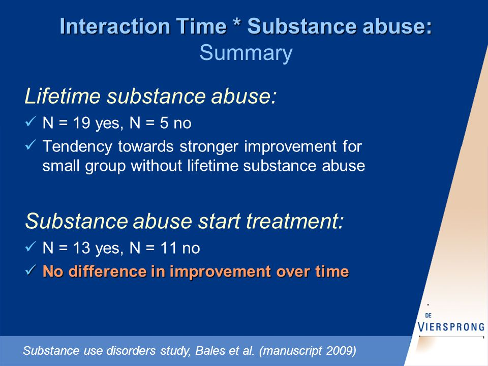 Interaction Time * Substance abuse: Interaction Time * Substance abuse: Summary Lifetime substance abuse: N = 19 yes, N = 5 no Tendency towards stronger improvement for small group without lifetime substance abuse Substance abuse start treatment: N = 13 yes, N = 11 no No difference in improvement over time No difference in improvement over time Substance use disorders study, Bales et al.