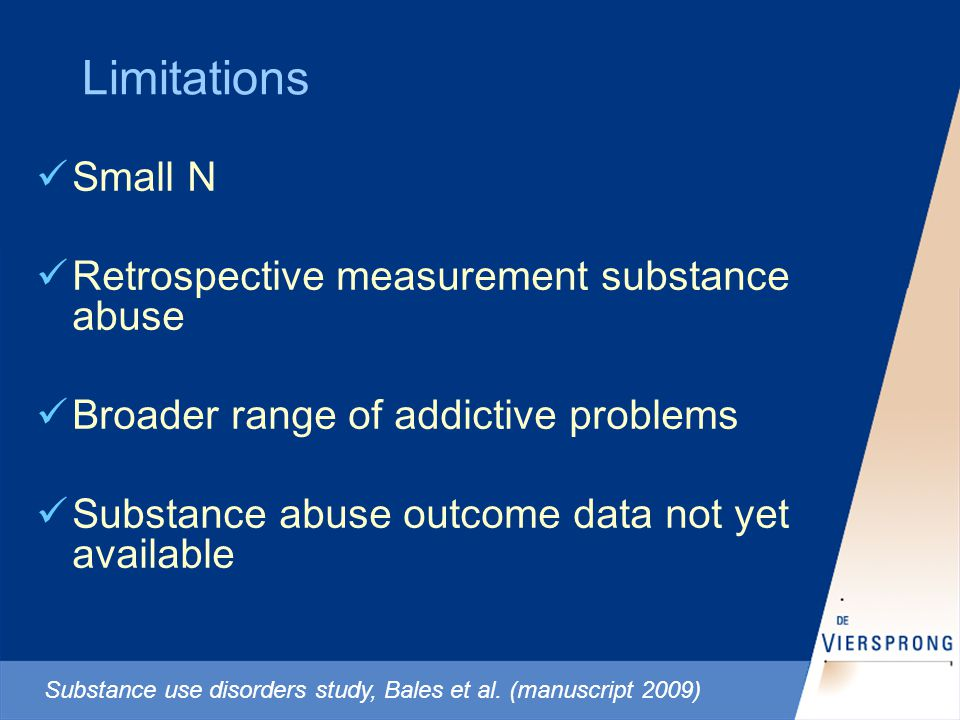Limitations Small N Retrospective measurement substance abuse Broader range of addictive problems Substance abuse outcome data not yet available Substance use disorders study, Bales et al.