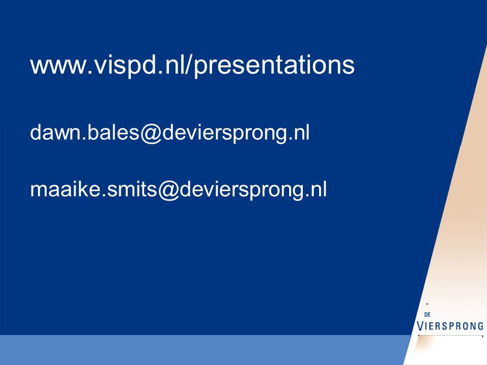 www.vispd.nl/presentations dawn.bales@deviersprong.nl maaike.smits@deviersprong.nl