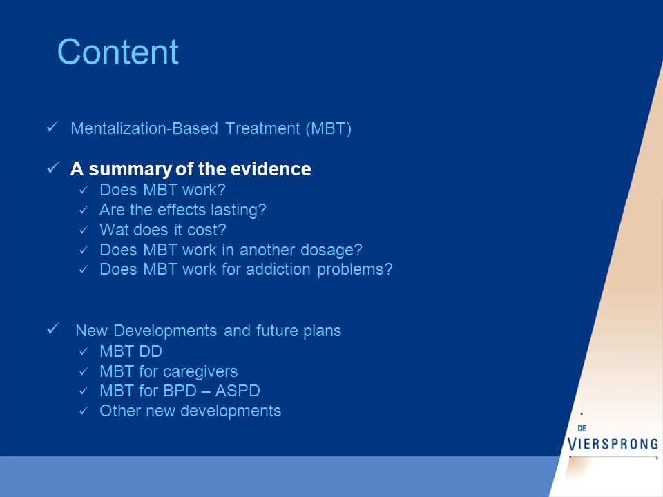 A summary of the evidence Does MBT work.RCT Day-hospital(1999 UK, 20..