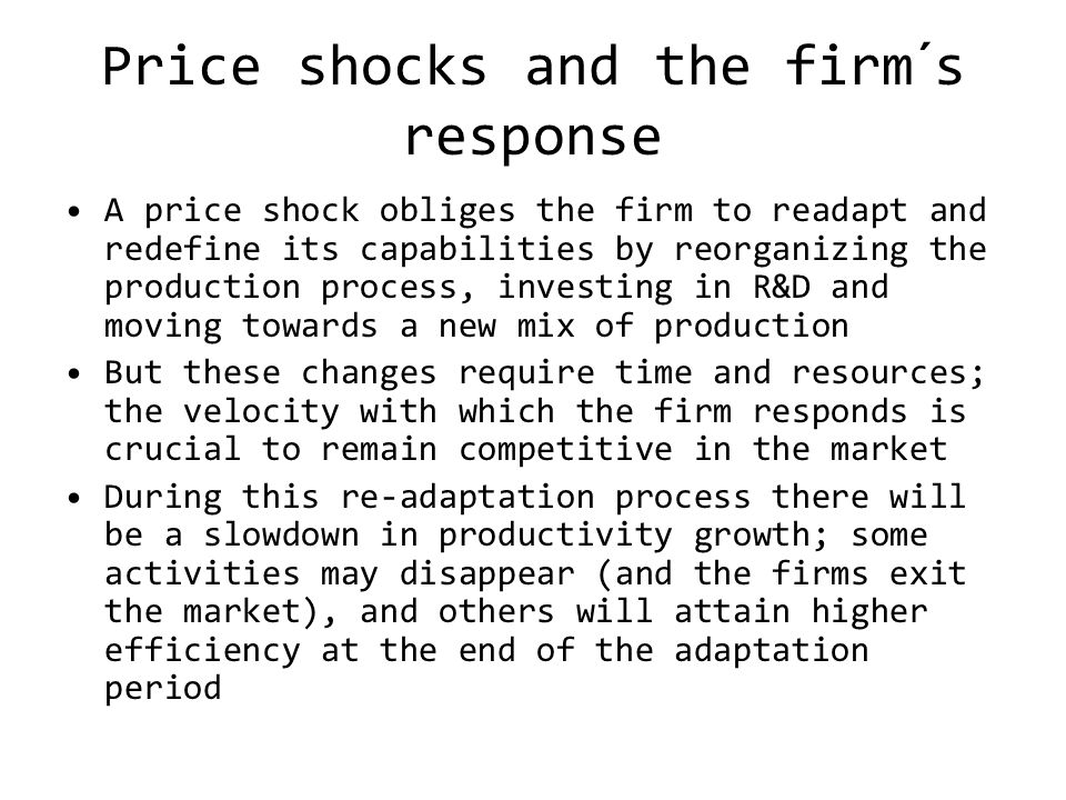 Price shocks and the firm´s response A price shock obliges the firm to readapt and redefine its capabilities by reorganizing the production process, investing in R&D and moving towards a new mix of production But these changes require time and resources; the velocity with which the firm responds is crucial to remain competitive in the market During this re-adaptation process there will be a slowdown in productivity growth; some activities may disappear (and the firms exit the market), and others will attain higher efficiency at the end of the adaptation period