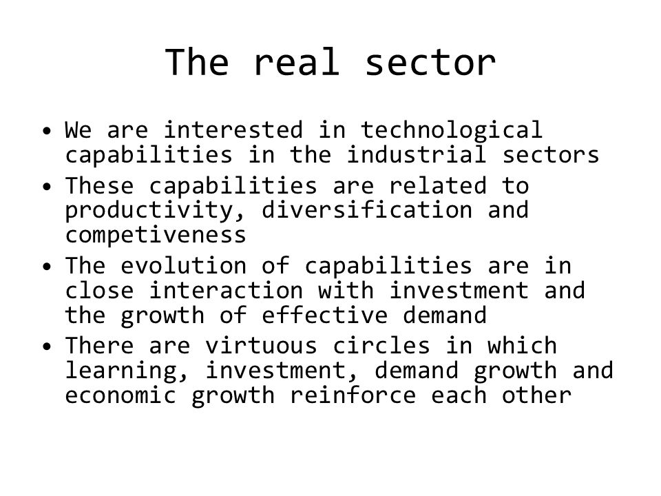 The real sector We are interested in technological capabilities in the industrial sectors These capabilities are related to productivity, diversification and competiveness The evolution of capabilities are in close interaction with investment and the growth of effective demand There are virtuous circles in which learning, investment, demand growth and economic growth reinforce each other