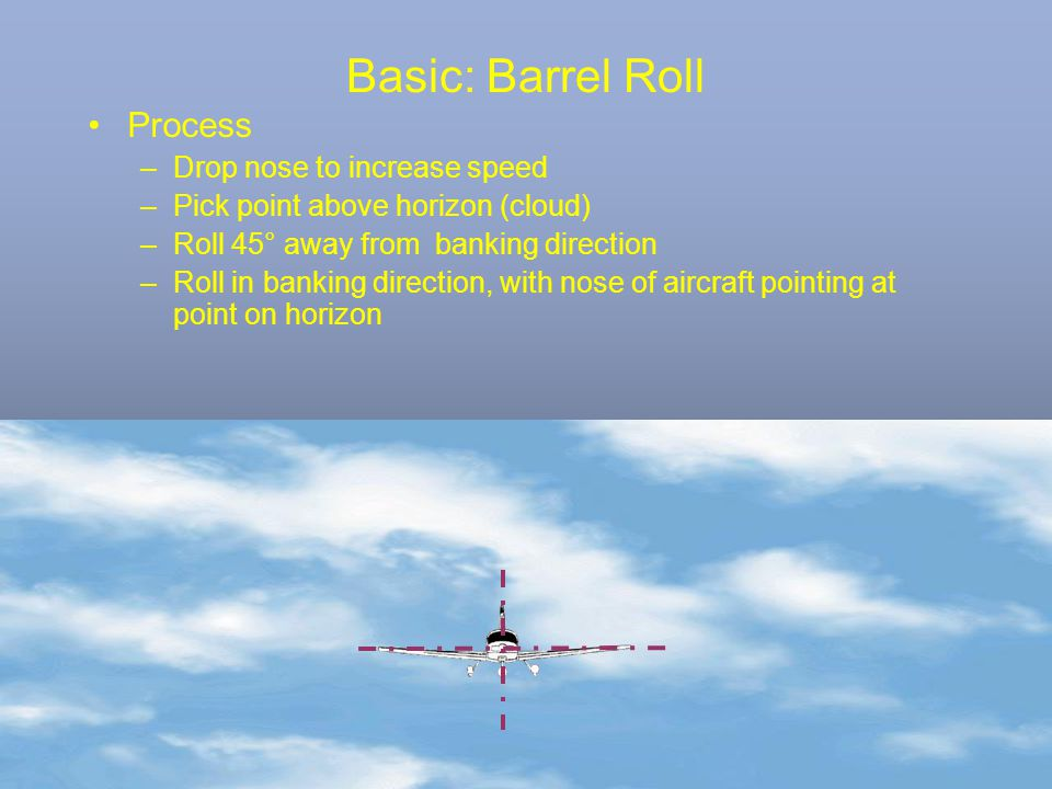 Basic: Barrel Roll Process –Drop nose to increase speed –Pick point above horizon (cloud) –Roll 45° away from banking direction –Roll in banking direc