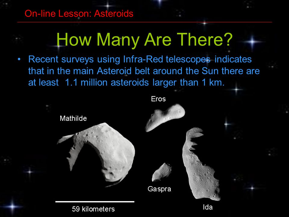 How Many Are There? Recent surveys using Infra-Red telescopes indicates that in the main Asteroid belt around the Sun there are at least 1.1 million a