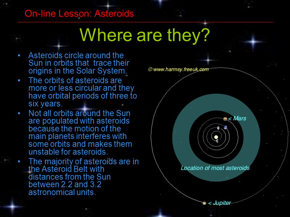 Where are they? Asteroids circle around the Sun in orbits that trace their origins in the Solar System. The orbits of asteroids are more or less circu