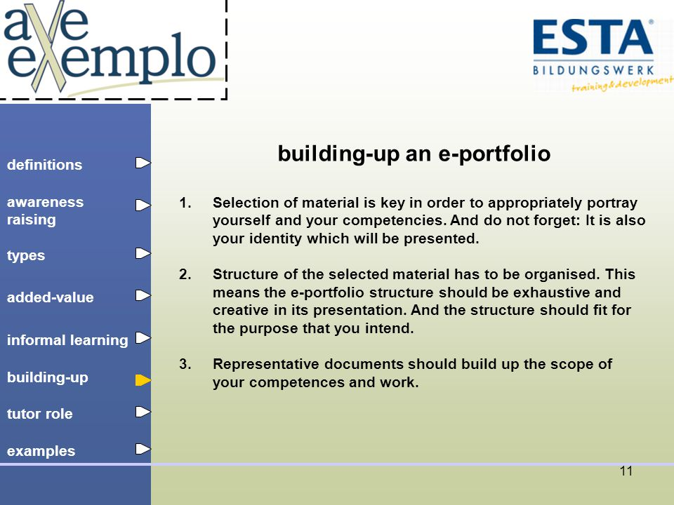 definitions types added-value tutor role building-up informal learning awareness raising examples 11 building-up an e-portfolio 1.Selection of material is key in order to appropriately portray yourself and your competencies.